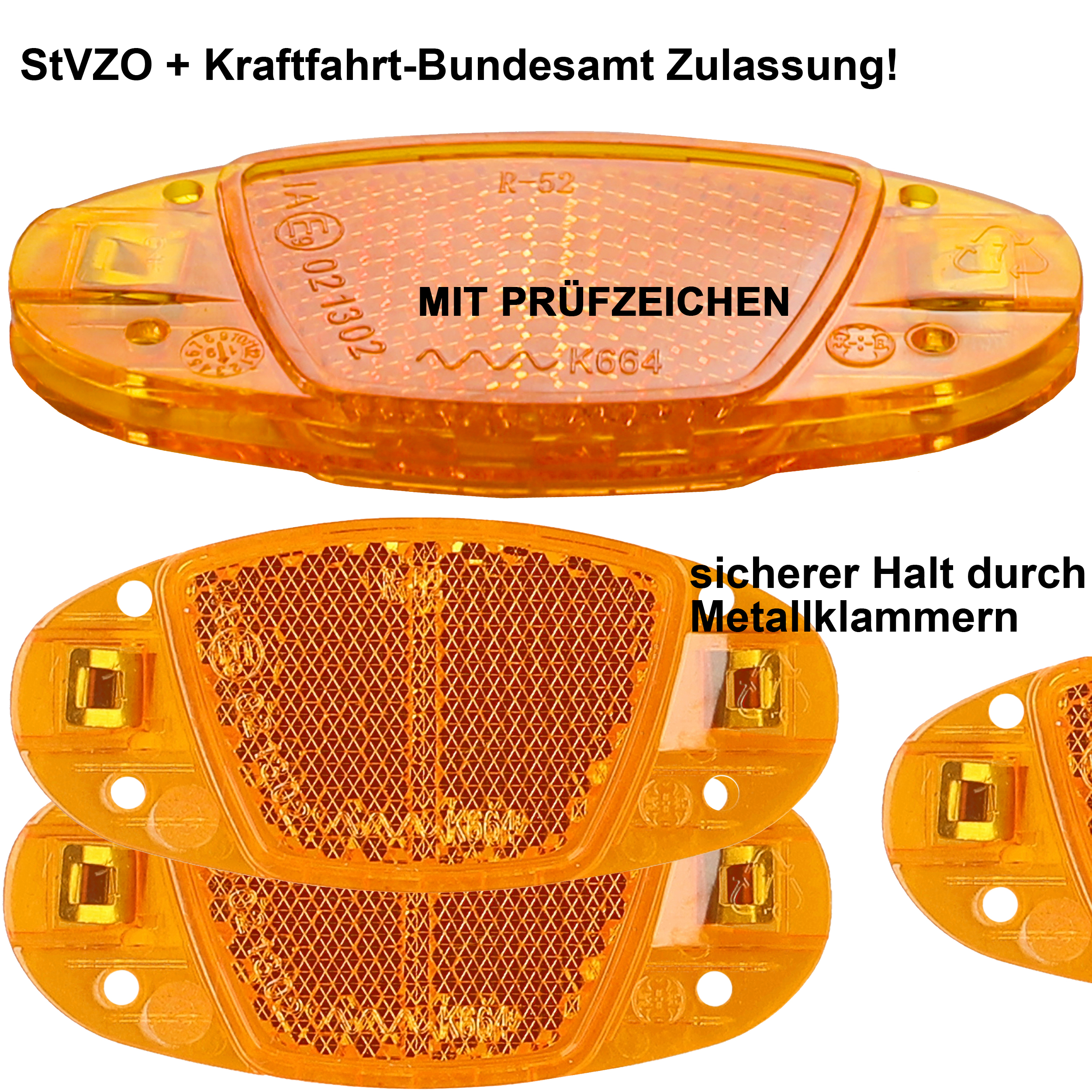 Indexbild 9 - Fahrrad Speichenreflektoren Katzenaugen Speichen Reflektoren orange StVZO